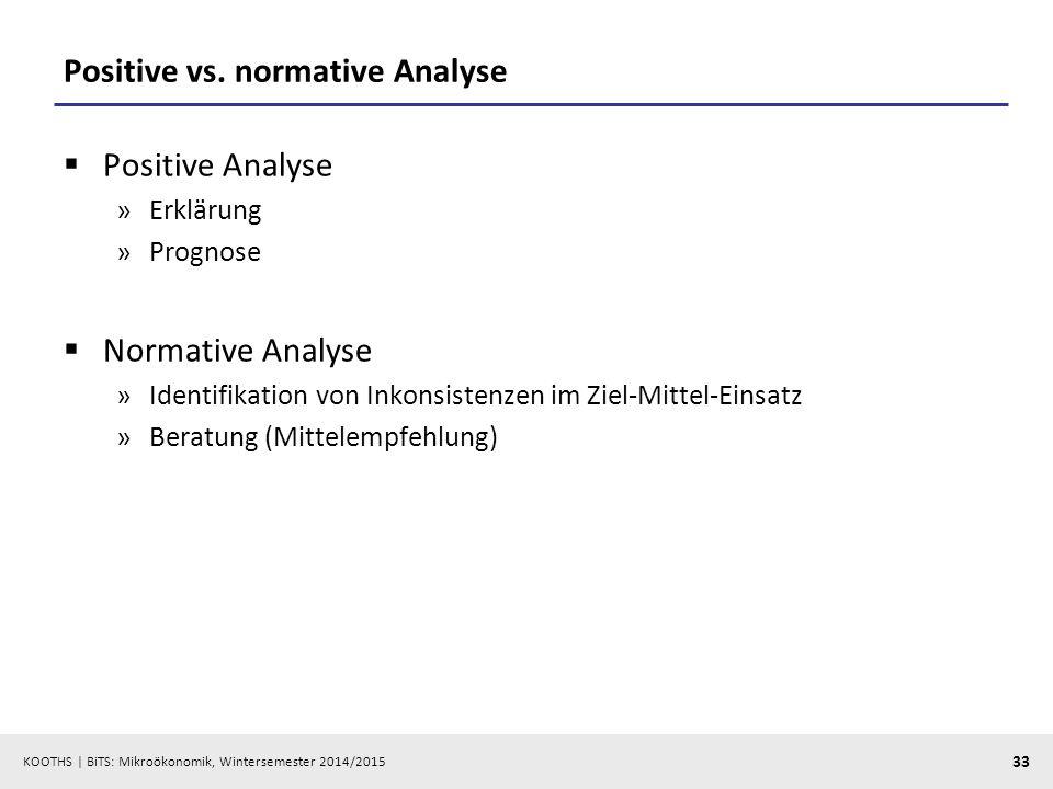 KOOTHS | BiTS: Mikroökonomik, Wintersemester 2014/2015 33 Positive vs. normative Analyse  Positive Analyse »Erklärung »Prognose  Normative Analyse »