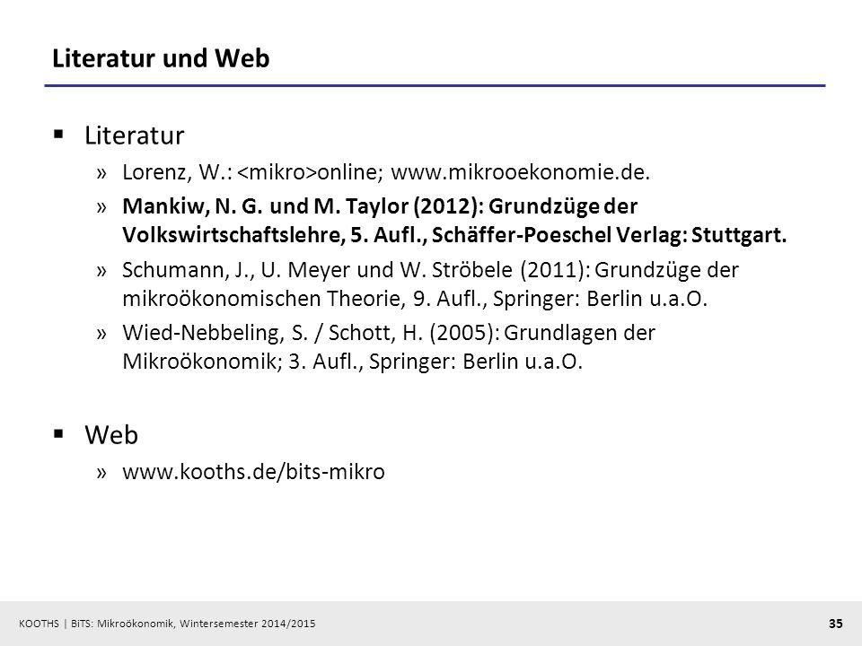 KOOTHS | BiTS: Mikroökonomik, Wintersemester 2014/2015 35 Literatur und Web  Literatur »Lorenz, W.: online; www.mikrooekonomie.de. »Mankiw, N. G. und