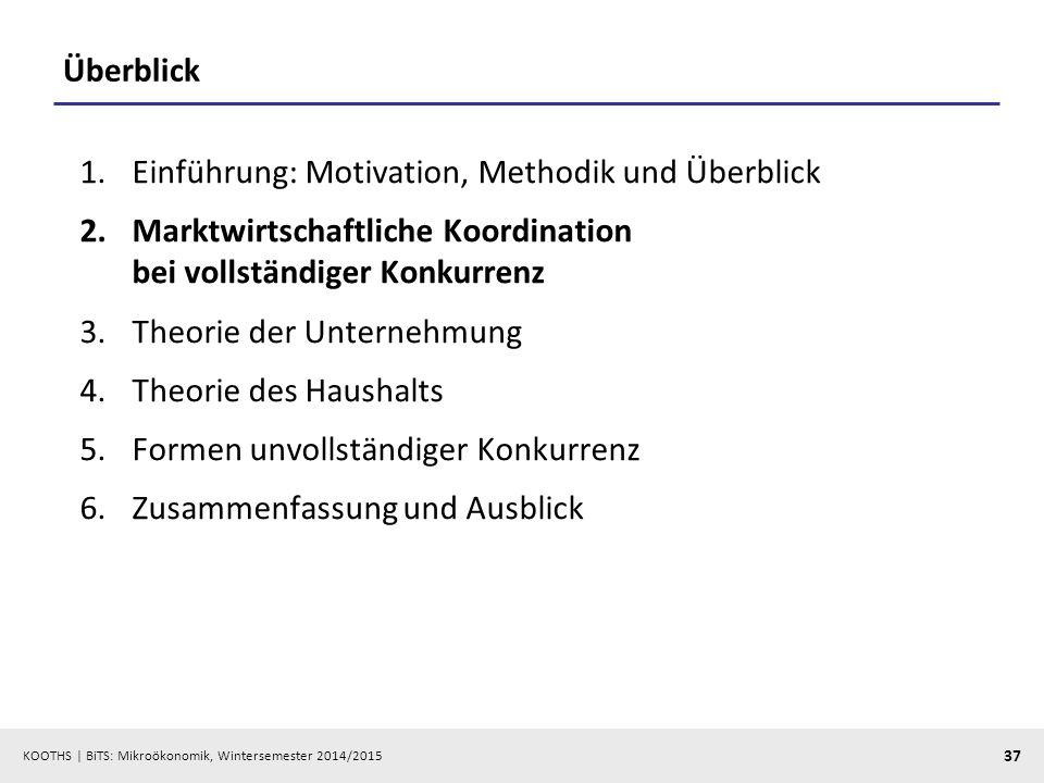KOOTHS | BiTS: Mikroökonomik, Wintersemester 2014/2015 37 Überblick 1.Einführung: Motivation, Methodik und Überblick 2.Marktwirtschaftliche Koordinati