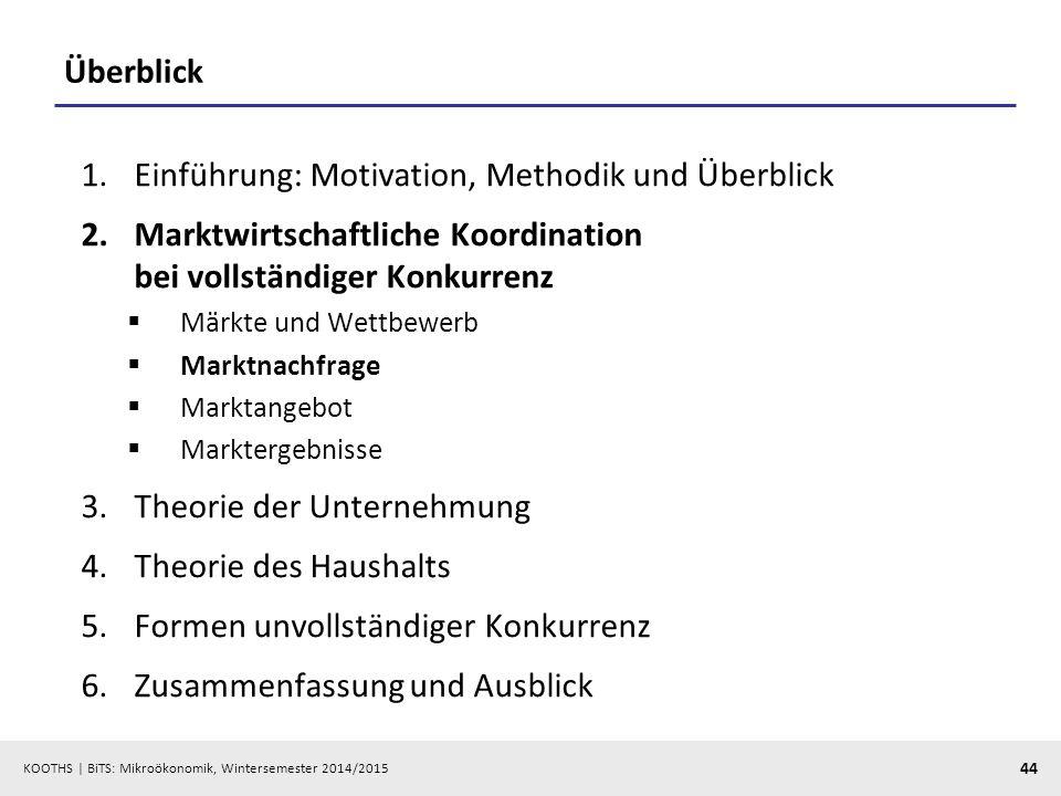 KOOTHS | BiTS: Mikroökonomik, Wintersemester 2014/2015 44 Überblick 1.Einführung: Motivation, Methodik und Überblick 2.Marktwirtschaftliche Koordinati