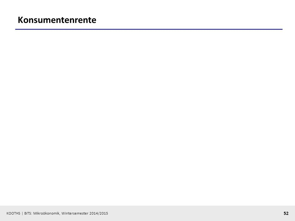 KOOTHS | BiTS: Mikroökonomik, Wintersemester 2014/2015 52 Konsumentenrente