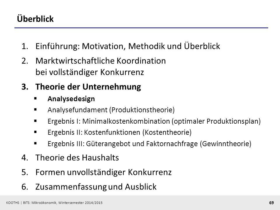 KOOTHS | BiTS: Mikroökonomik, Wintersemester 2014/2015 69 Überblick 1.Einführung: Motivation, Methodik und Überblick 2.Marktwirtschaftliche Koordinati