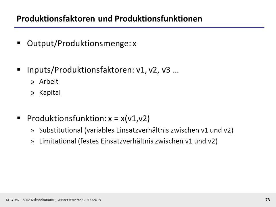 KOOTHS | BiTS: Mikroökonomik, Wintersemester 2014/2015 73 Produktionsfaktoren und Produktionsfunktionen  Output/Produktionsmenge: x  Inputs/Produkti