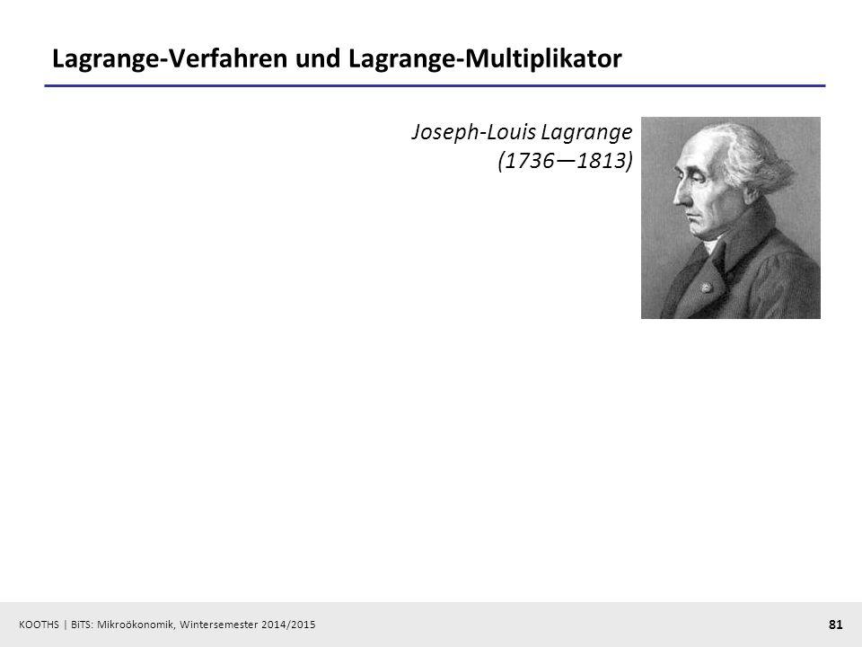 KOOTHS | BiTS: Mikroökonomik, Wintersemester 2014/2015 81 Lagrange-Verfahren und Lagrange-Multiplikator Joseph-Louis Lagrange (1736—1813)
