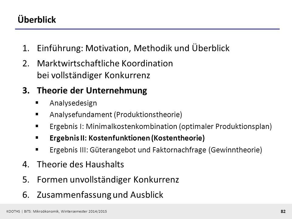 KOOTHS | BiTS: Mikroökonomik, Wintersemester 2014/2015 82 Überblick 1.Einführung: Motivation, Methodik und Überblick 2.Marktwirtschaftliche Koordinati