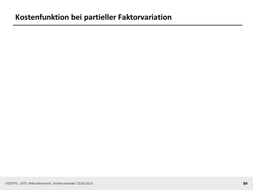 KOOTHS | BiTS: Mikroökonomik, Wintersemester 2014/2015 84 Kostenfunktion bei partieller Faktorvariation