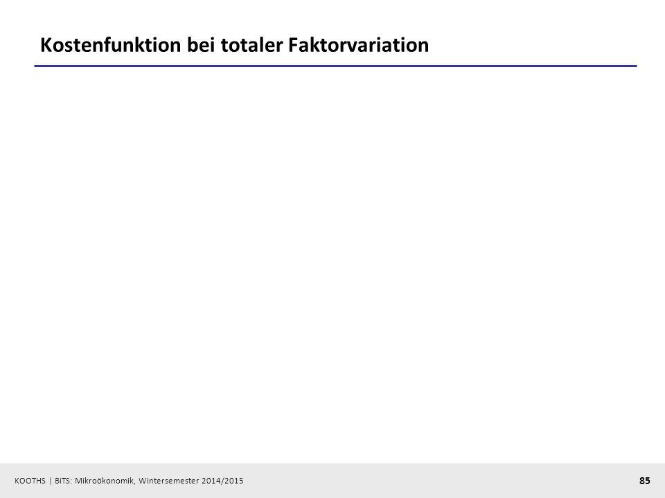 KOOTHS | BiTS: Mikroökonomik, Wintersemester 2014/2015 85 Kostenfunktion bei totaler Faktorvariation