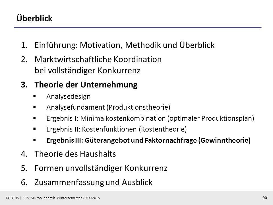 KOOTHS | BiTS: Mikroökonomik, Wintersemester 2014/2015 90 Überblick 1.Einführung: Motivation, Methodik und Überblick 2.Marktwirtschaftliche Koordinati