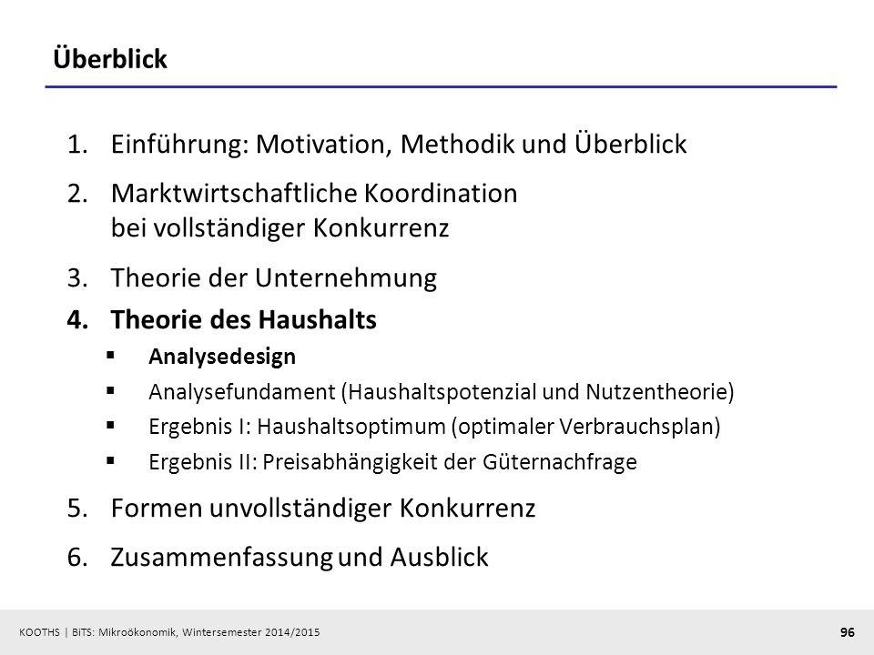 KOOTHS | BiTS: Mikroökonomik, Wintersemester 2014/2015 96 Überblick 1.Einführung: Motivation, Methodik und Überblick 2.Marktwirtschaftliche Koordinati