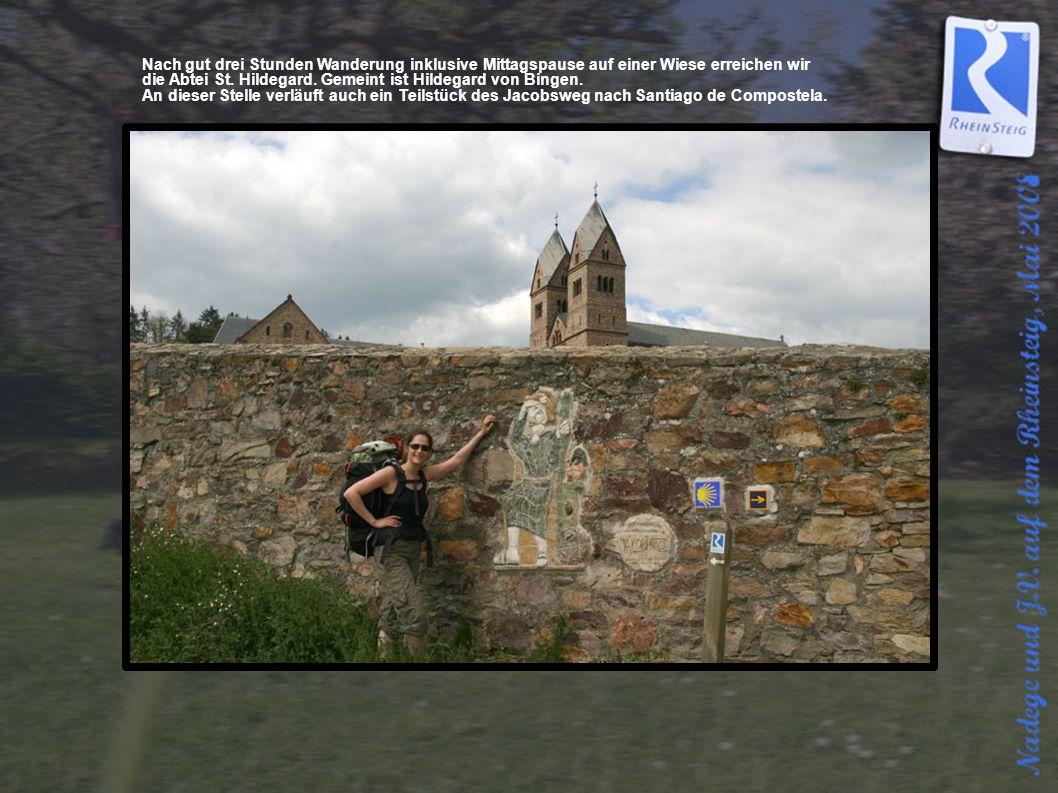 Nach gut drei Stunden Wanderung inklusive Mittagspause auf einer Wiese erreichen wir die Abtei St. Hildegard. Gemeint ist Hildegard von Bingen. An die