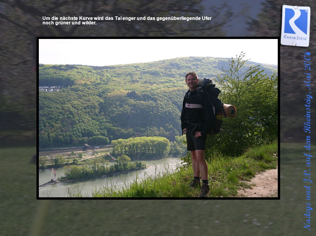 Ein Blick zurück, wo die Nahe in der Ferne in den Rhein fließt.