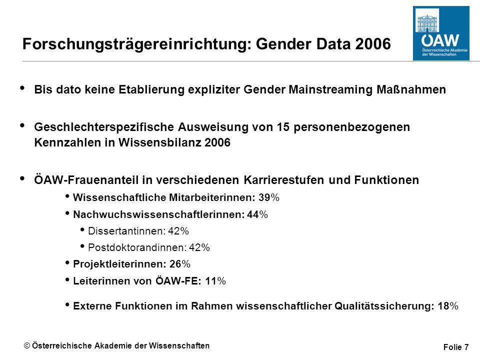 © Österreichische Akademie der Wissenschaften Folie 7 Forschungsträgereinrichtung: Gender Data 2006 Bis dato keine Etablierung expliziter Gender Mainstreaming Maßnahmen Geschlechterspezifische Ausweisung von 15 personenbezogenen Kennzahlen in Wissensbilanz 2006 ÖAW-Frauenanteil in verschiedenen Karrierestufen und Funktionen Wissenschaftliche Mitarbeiterinnen: 39% Nachwuchswissenschaftlerinnen: 44% Dissertantinnen: 42% Postdoktorandinnen: 42% Projektleiterinnen: 26% Leiterinnen von ÖAW-FE: 11% Externe Funktionen im Rahmen wissenschaftlicher Qualitätssicherung: 18%