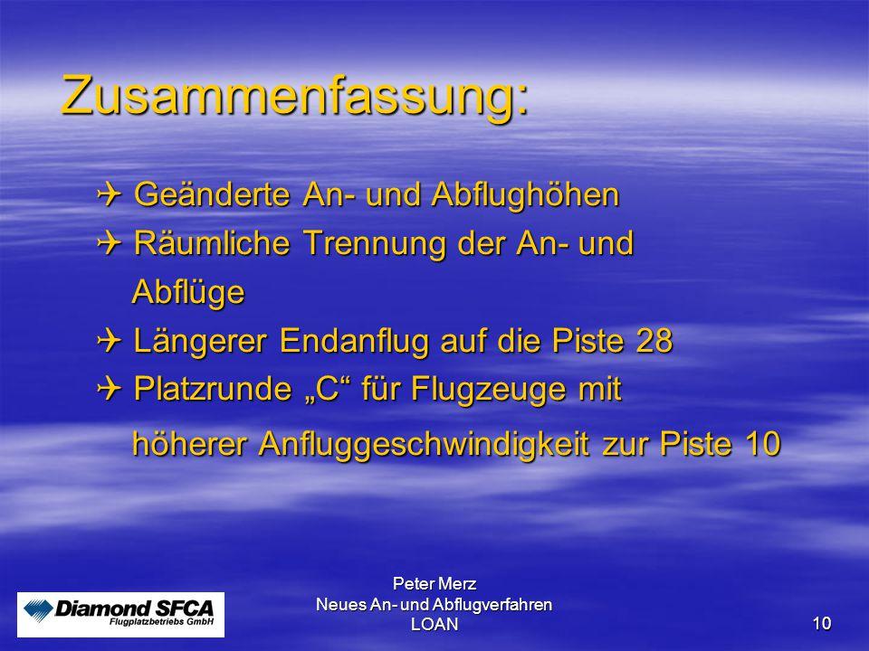 Peter Merz Neues An- und Abflugverfahren LOAN 10 Zusammenfassung:  Geänderte An- und Abflughöhen  Räumliche Trennung der An- und Abflüge Abflüge  L