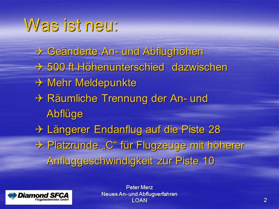 Peter Merz Neues An- und Abflugverfahren LOAN 2 Was ist neu:  Geänderte An- und Abflughöhen  500 ft Höhenunterschied dazwischen  Mehr Meldepunkte 