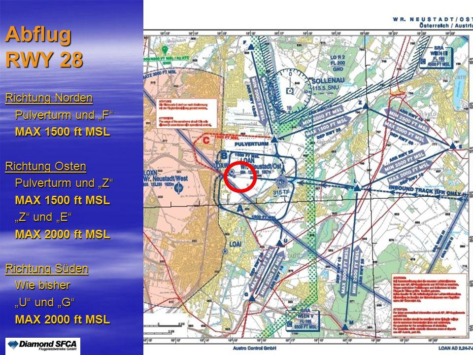 """Peter Merz Neues An-und Abflugverfahren LOAN4 Abflug RWY 28 Richtung Norden Pulverturm und """"F"""" Pulverturm und """"F"""" MAX 1500 ft MSL MAX 1500 ft MSL Rich"""