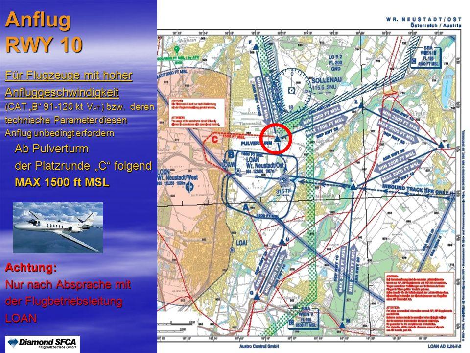 """Peter Merz Neues An-und Abflugverfahren LOAN8 Anflug RWY 10 Für Flugzeuge mit hoher Anfluggeschwindigkeit (CAT """"B"""" 91-120 kt V AT ) bzw. deren technis"""