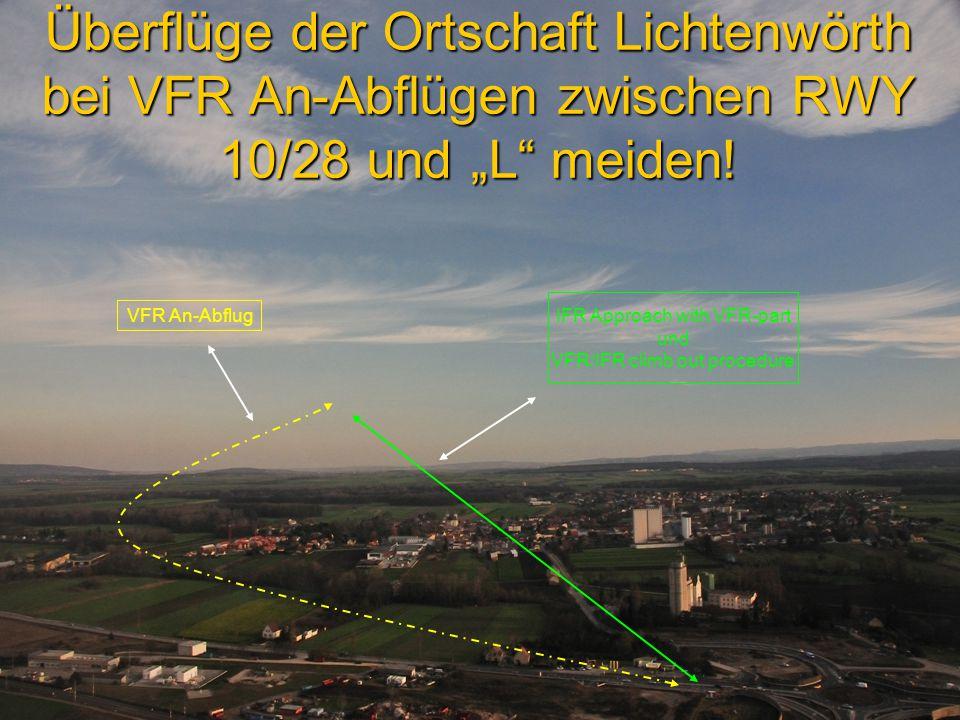 """Peter Merz Neues An-und Abflugverfahren LOAN 9 Überflüge der Ortschaft Lichtenwörth bei VFR An-Abflügen zwischen RWY 10/28 und """"L"""" meiden! IFR Approac"""