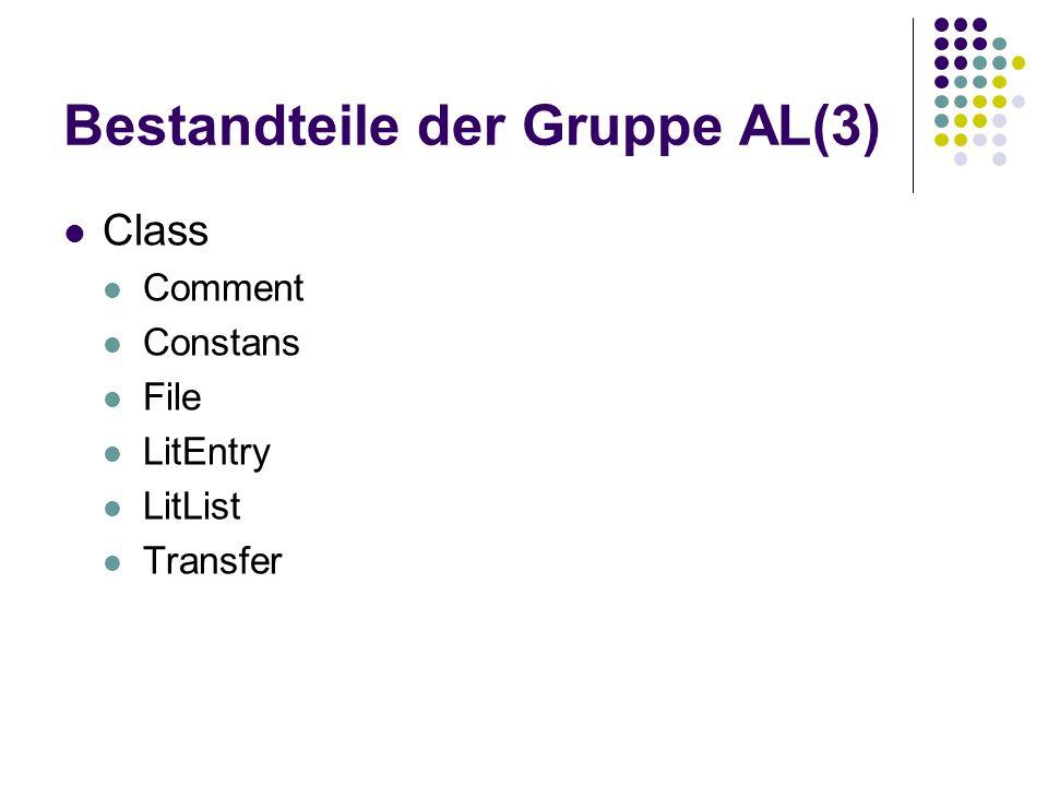 Bestandteile der Gruppe AL(3) Class Comment Constans File LitEntry LitList Transfer