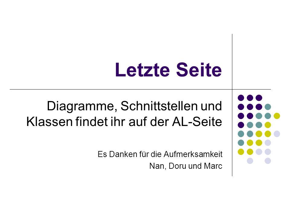 Letzte Seite Diagramme, Schnittstellen und Klassen findet ihr auf der AL-Seite Es Danken für die Aufmerksamkeit Nan, Doru und Marc