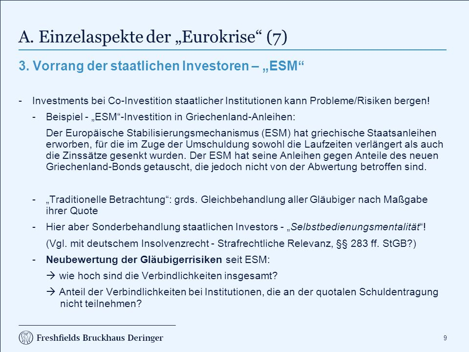 """9 A. Einzelaspekte der """"Eurokrise"""" (7) 3. Vorrang der staatlichen Investoren – """"ESM"""" -Investments bei Co-Investition staatlicher Institutionen kann Pr"""