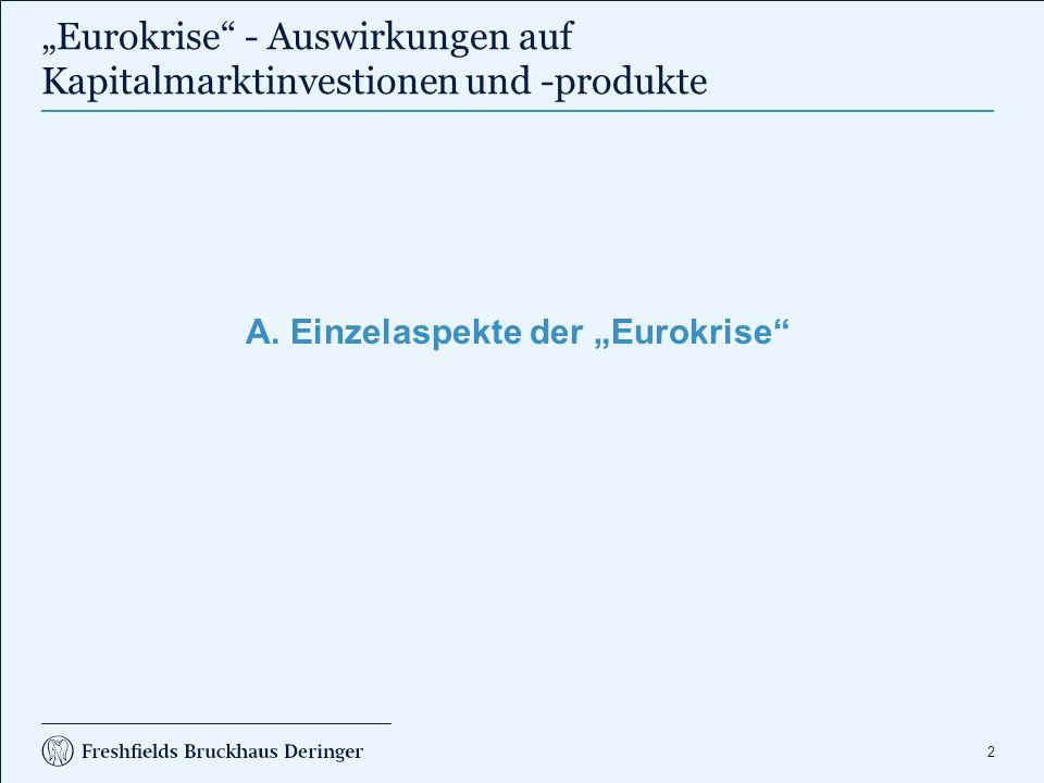 """2 """"Eurokrise"""" - Auswirkungen auf Kapitalmarktinvestionen und -produkte A. Einzelaspekte der """"Eurokrise"""""""