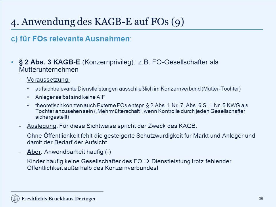 35 4. Anwendung des KAGB-E auf FOs (9) c) für FOs relevante Ausnahmen: § 2 Abs. 3 KAGB-E (Konzernprivileg): z.B. FO-Gesellschafter als Mutterunternehm