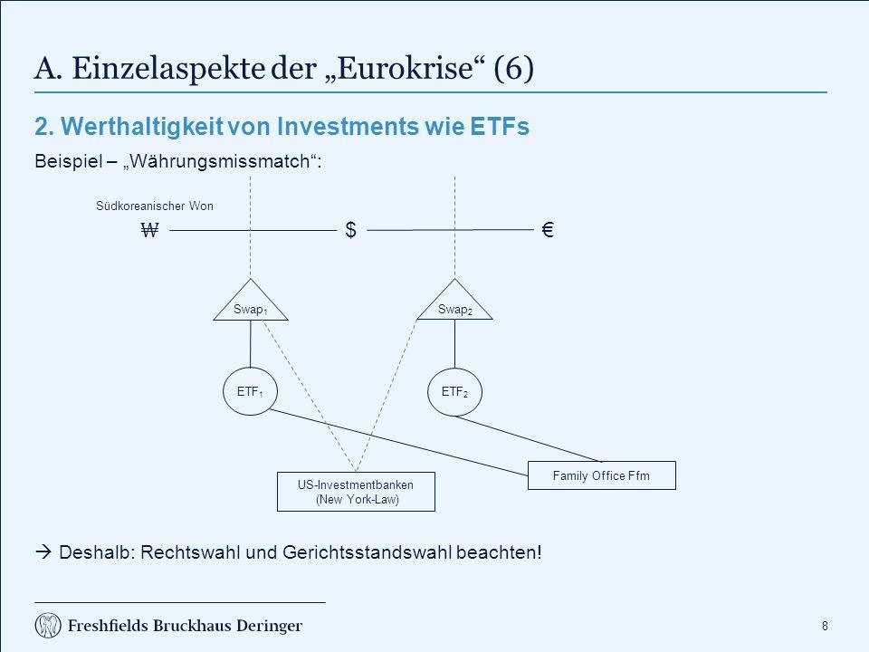 """8 A. Einzelaspekte der """"Eurokrise"""" (6) 2. Werthaltigkeit von Investments wie ETFs Beispiel – """"Währungsmissmatch"""":  Deshalb: Rechtswahl und Gerichtsst"""
