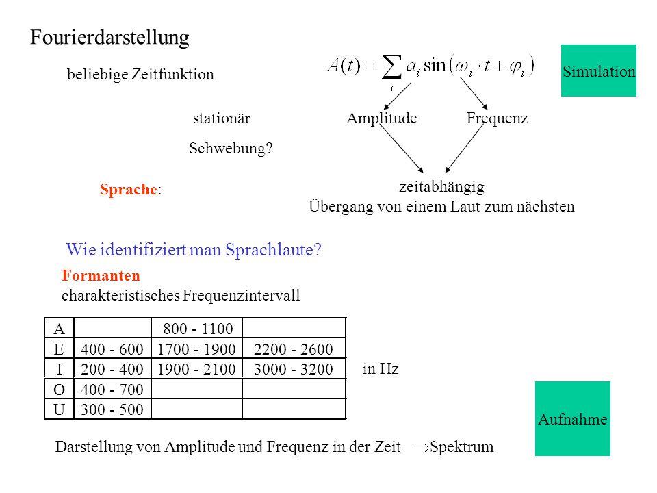 beliebige Zeitfunktion AmplitudeFrequenzstationär Darstellung von Amplitude und Frequenz in der Zeit  Spektrum Sprache: zeitabhängig Übergang von ein