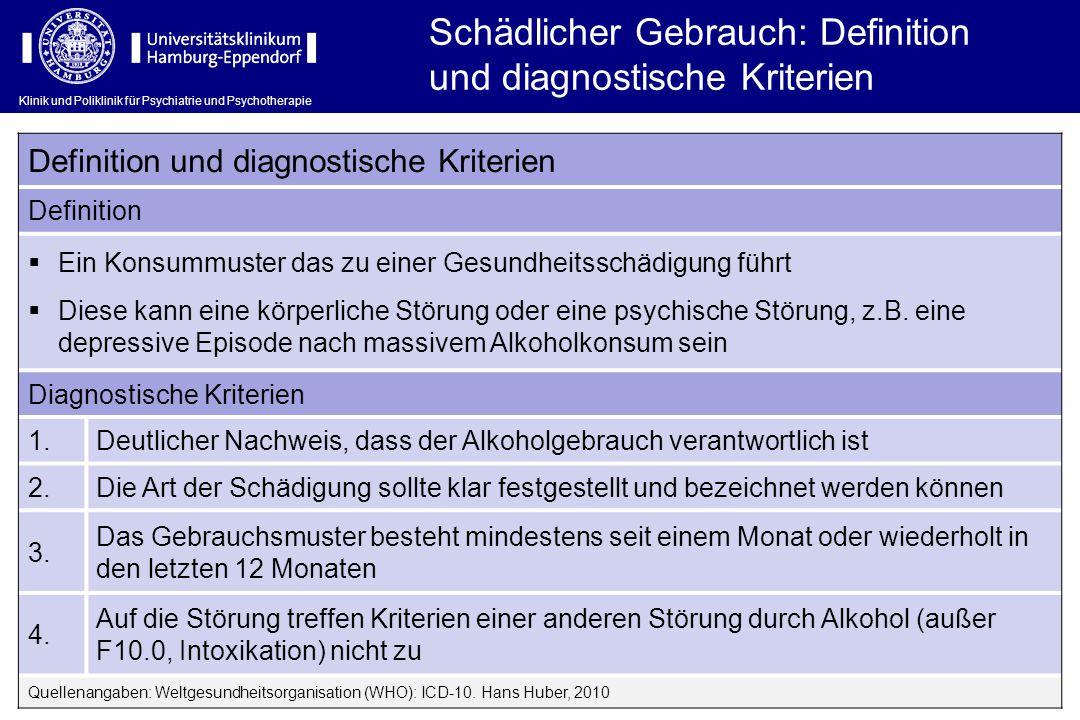 Klinik und Poliklinik für Psychiatrie und Psychotherapie Schädlicher Gebrauch: Definition und diagnostische Kriterien Definition und diagnostische Kri
