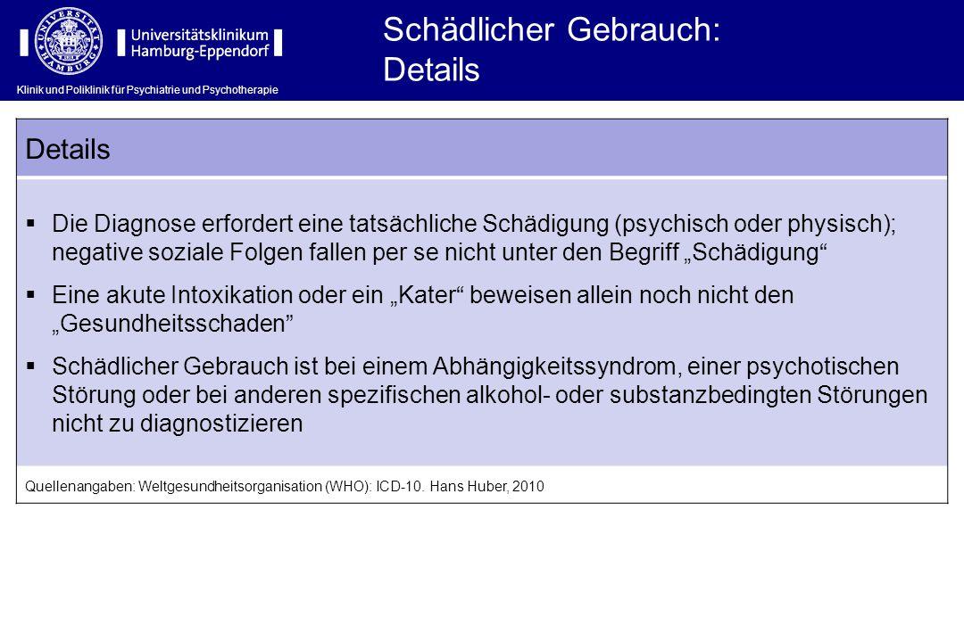 Klinik und Poliklinik für Psychiatrie und Psychotherapie Schädlicher Gebrauch: Details  Die Diagnose erfordert eine tatsächliche Schädigung (psychisc