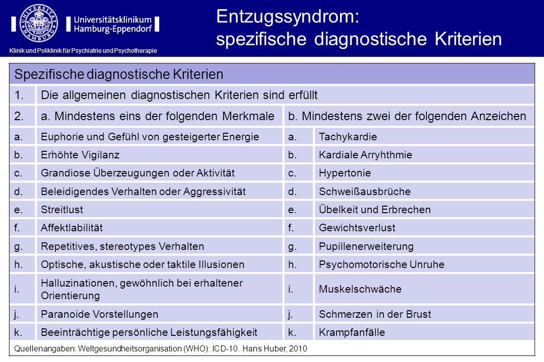 Klinik und Poliklinik für Psychiatrie und Psychotherapie Entzugssyndrom: spezifische diagnostische Kriterien Spezifische diagnostische Kriterien 1.Die