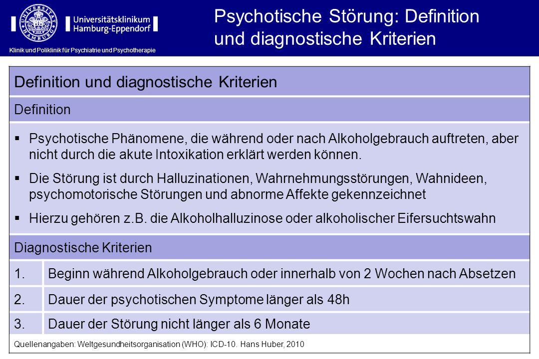 Klinik und Poliklinik für Psychiatrie und Psychotherapie Psychotische Störung: Definition und diagnostische Kriterien Definition und diagnostische Kri