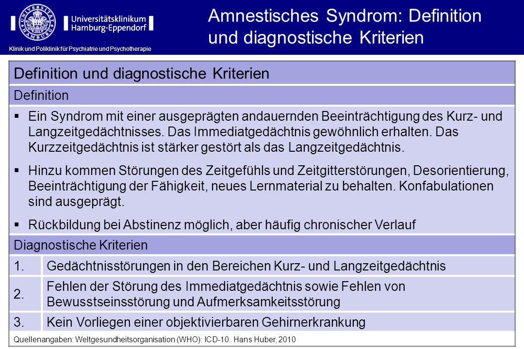 Klinik und Poliklinik für Psychiatrie und Psychotherapie Amnestisches Syndrom: Definition und diagnostische Kriterien Definition und diagnostische Kri