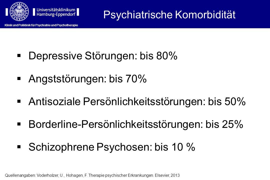 Klinik und Poliklinik für Psychiatrie und Psychotherapie  Depressive Störungen: bis 80%  Angststörungen: bis 70%  Antisoziale Persönlichkeitsstörun