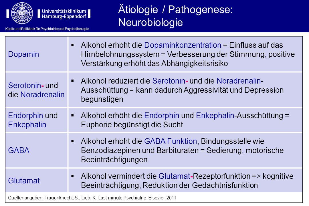 Klinik und Poliklinik für Psychiatrie und Psychotherapie Ätiologie / Pathogenese: Neurobiologie Dopamin  Alkohol erhöht die Dopaminkonzentration = Ei