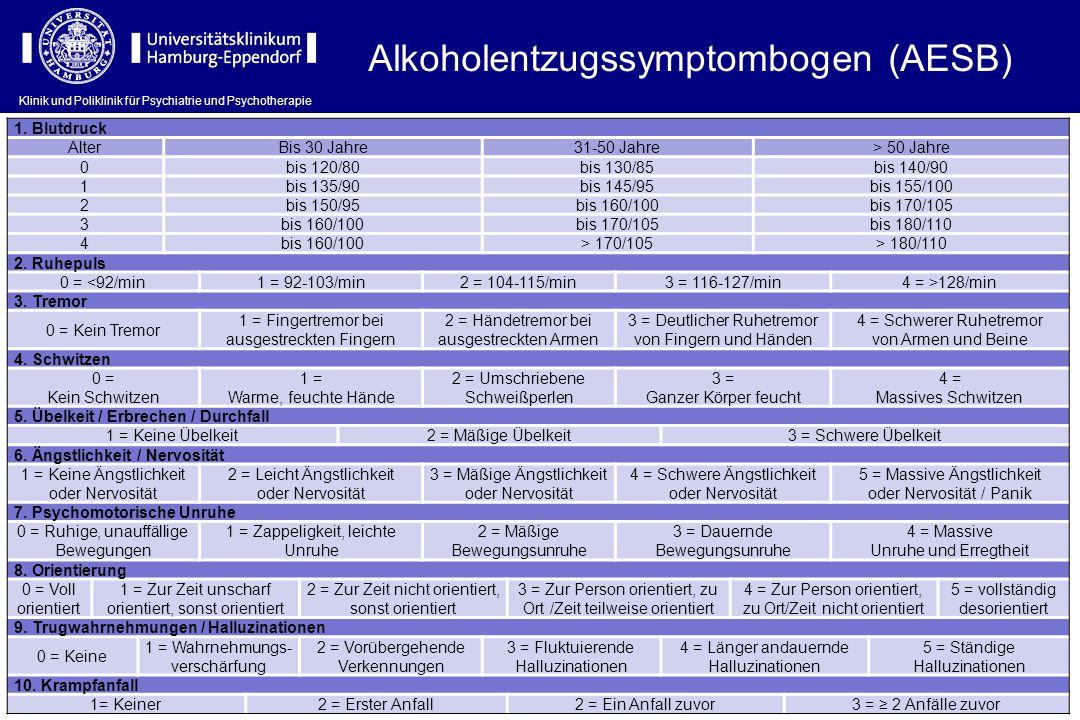 Klinik und Poliklinik für Psychiatrie und Psychotherapie Alkoholentzugssymptombogen (AESB) 1. Blutdruck AlterBis 30 Jahre31-50 Jahre> 50 Jahre 0bis 12