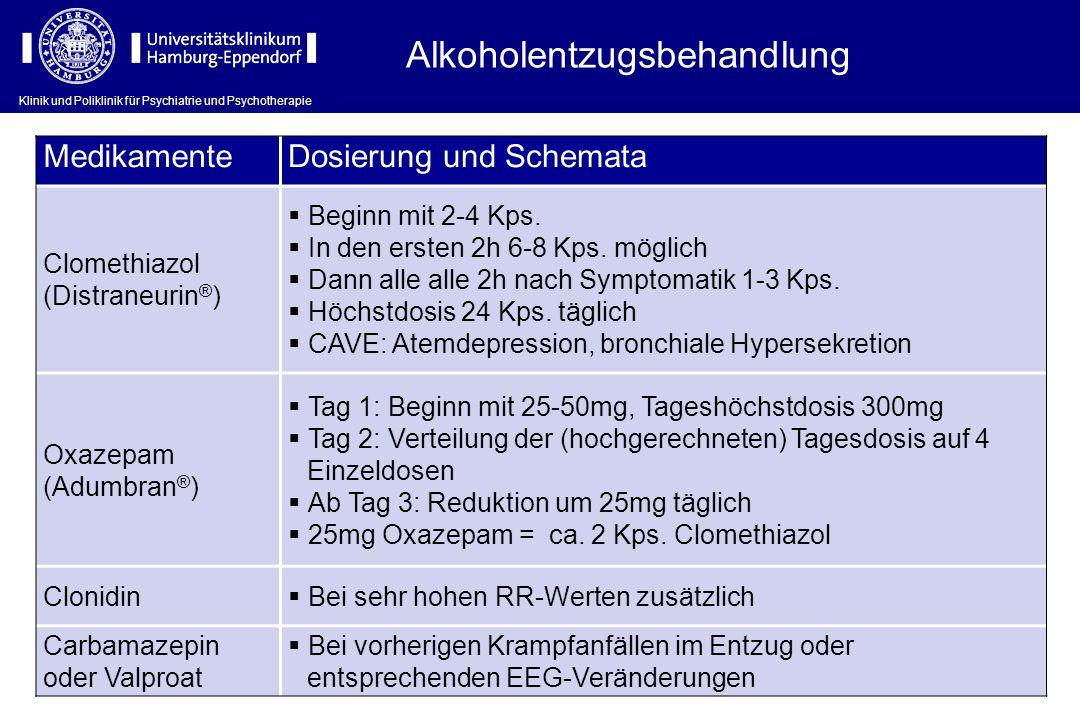 Klinik und Poliklinik für Psychiatrie und Psychotherapie Alkoholentzugsbehandlung MedikamenteDosierung und Schemata Clomethiazol (Distraneurin ® )  B