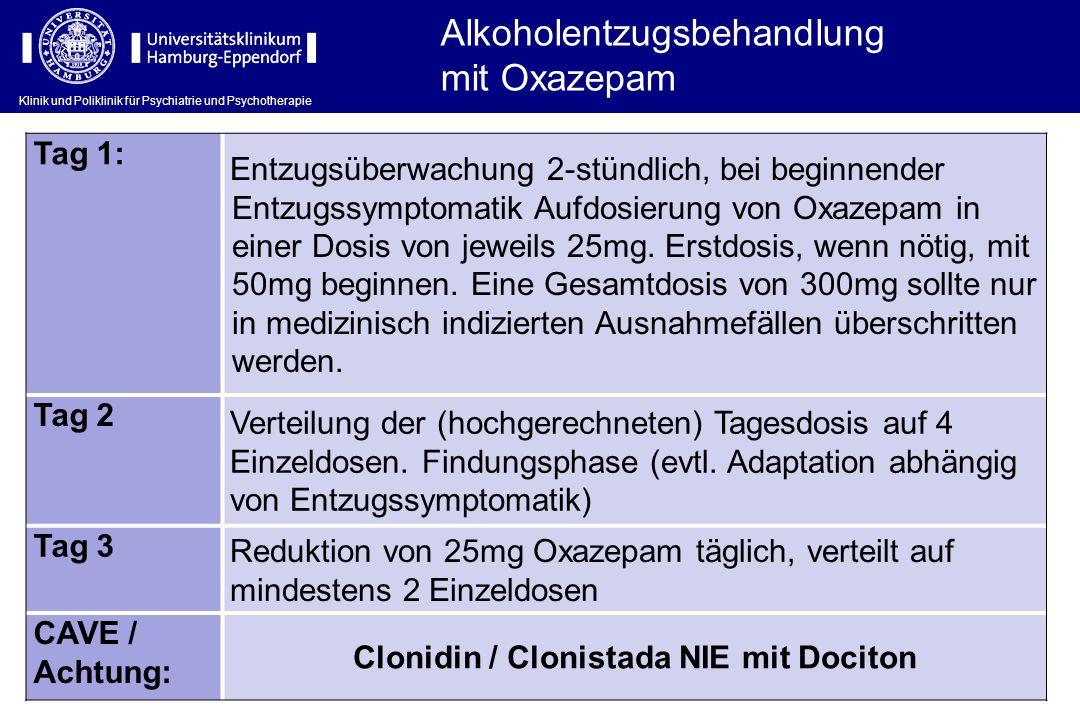 Klinik und Poliklinik für Psychiatrie und Psychotherapie Alkoholentzugsbehandlung mit Oxazepam Tag 1: Entzugsüberwachung 2-stündlich, bei beginnender
