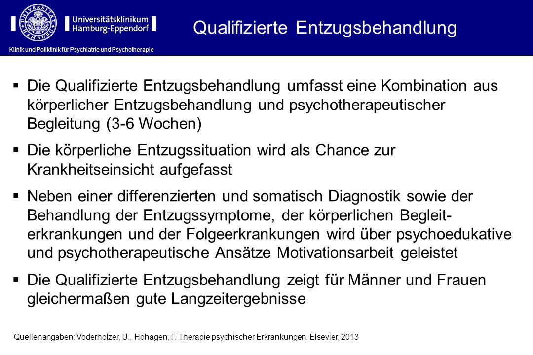 Klinik und Poliklinik für Psychiatrie und Psychotherapie Qualifizierte Entzugsbehandlung  Die Qualifizierte Entzugsbehandlung umfasst eine Kombinatio