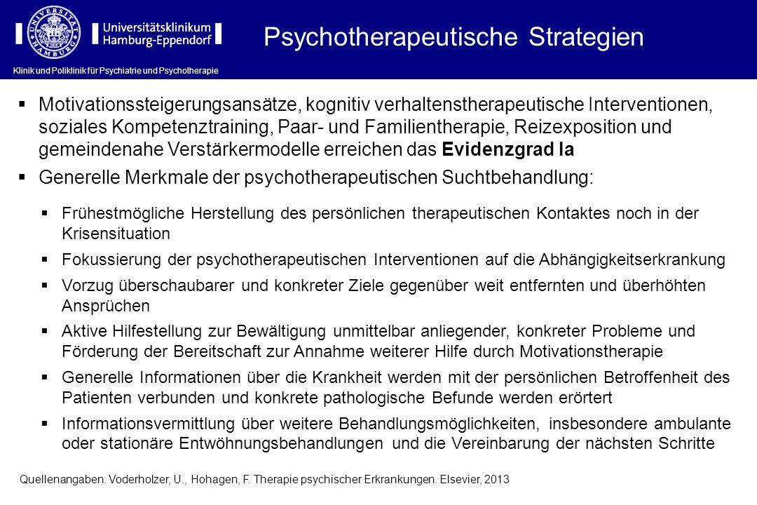 Klinik und Poliklinik für Psychiatrie und Psychotherapie Psychotherapeutische Strategien  Motivationssteigerungsansätze, kognitiv verhaltenstherapeut