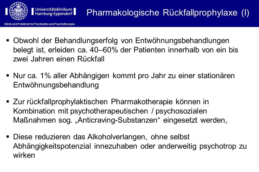 Klinik und Poliklinik für Psychiatrie und Psychotherapie Pharmakologische Rückfallprophylaxe (I)  Obwohl der Behandlungserfolg von Entwöhnungsbehandl