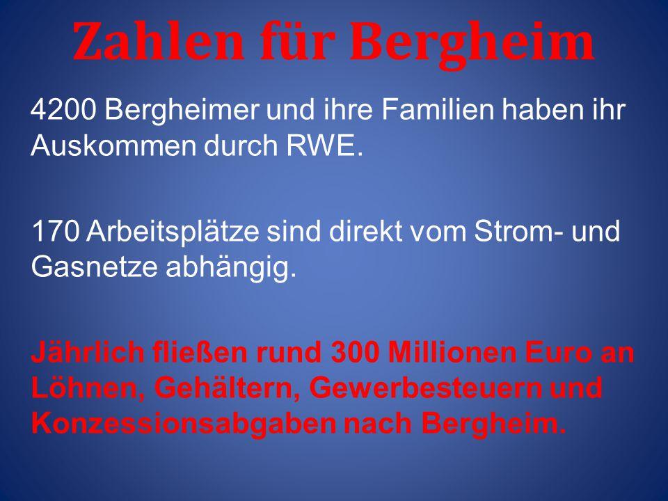 Zahlen für Bergheim 4200 Bergheimer und ihre Familien haben ihr Auskommen durch RWE. 170 Arbeitsplätze sind direkt vom Strom- und Gasnetze abhängig. J