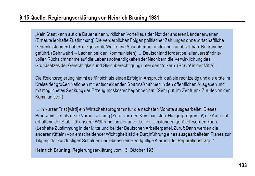 """133 9.15 Quelle: Regierungserklärung von Heinrich Brüning 1931 """"Kein Staat kann auf die Dauer einen wirklichen Vorteil aus der Not der anderen Länder"""