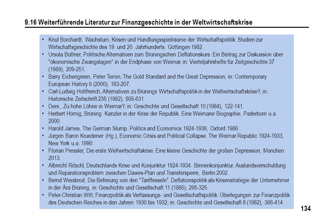 134 9.16 Weiterführende Literatur zur Finanzgeschichte in der Weltwirtschaftskrise Knut Borchardt, Wachstum, Krisen und Handlungsspielräume der Wirtschaftspolitik.