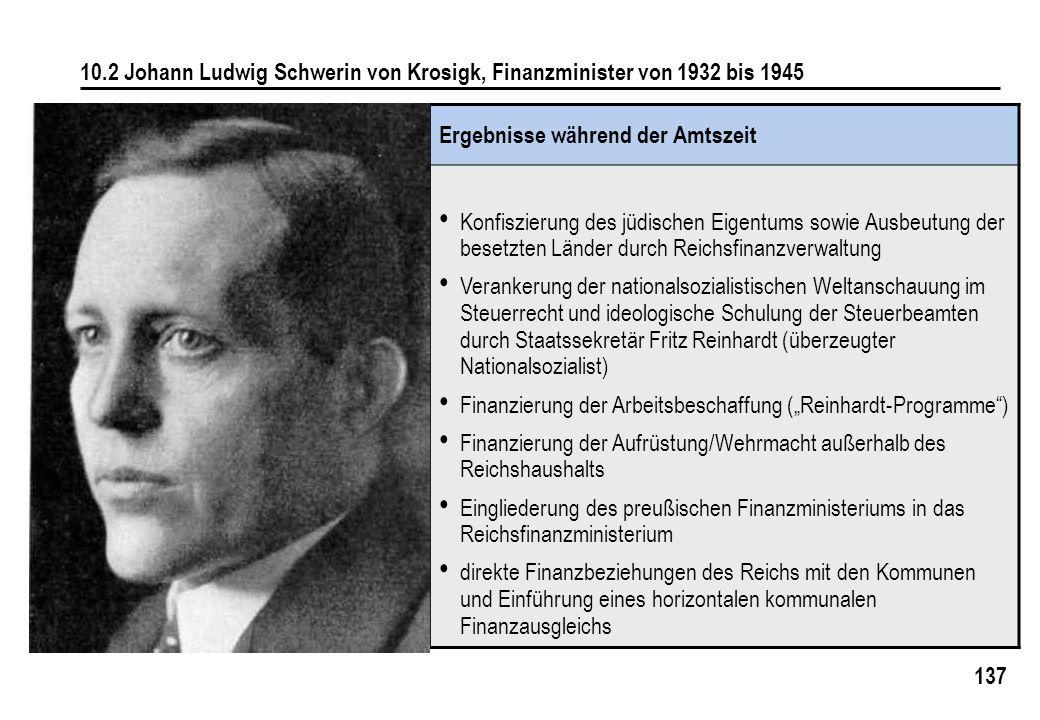 137 10.2 Johann Ludwig Schwerin von Krosigk, Finanzminister von 1932 bis 1945 Ergebnisse während der Amtszeit Konfiszierung des jüdischen Eigentums so
