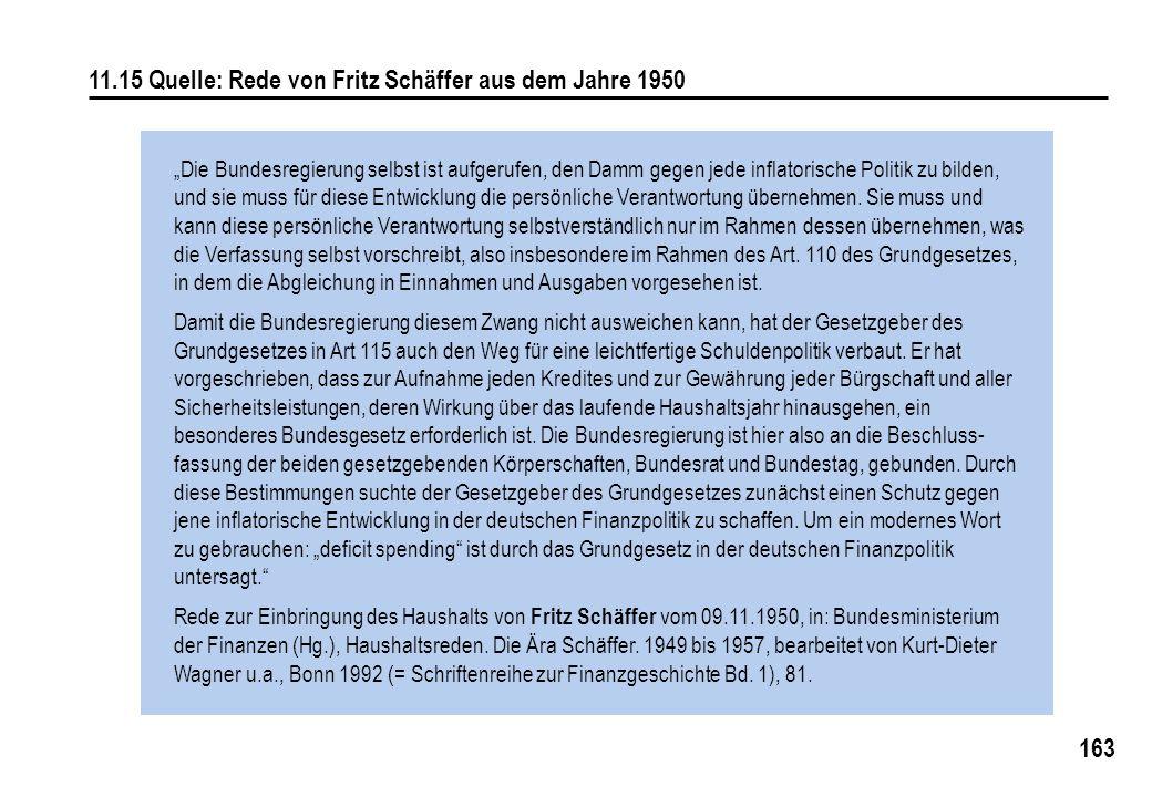 """163 11.15 Quelle: Rede von Fritz Schäffer aus dem Jahre 1950 """"Die Bundesregierung selbst ist aufgerufen, den Damm gegen jede inflatorische Politik zu bilden, und sie muss für diese Entwicklung die persönliche Verantwortung übernehmen."""