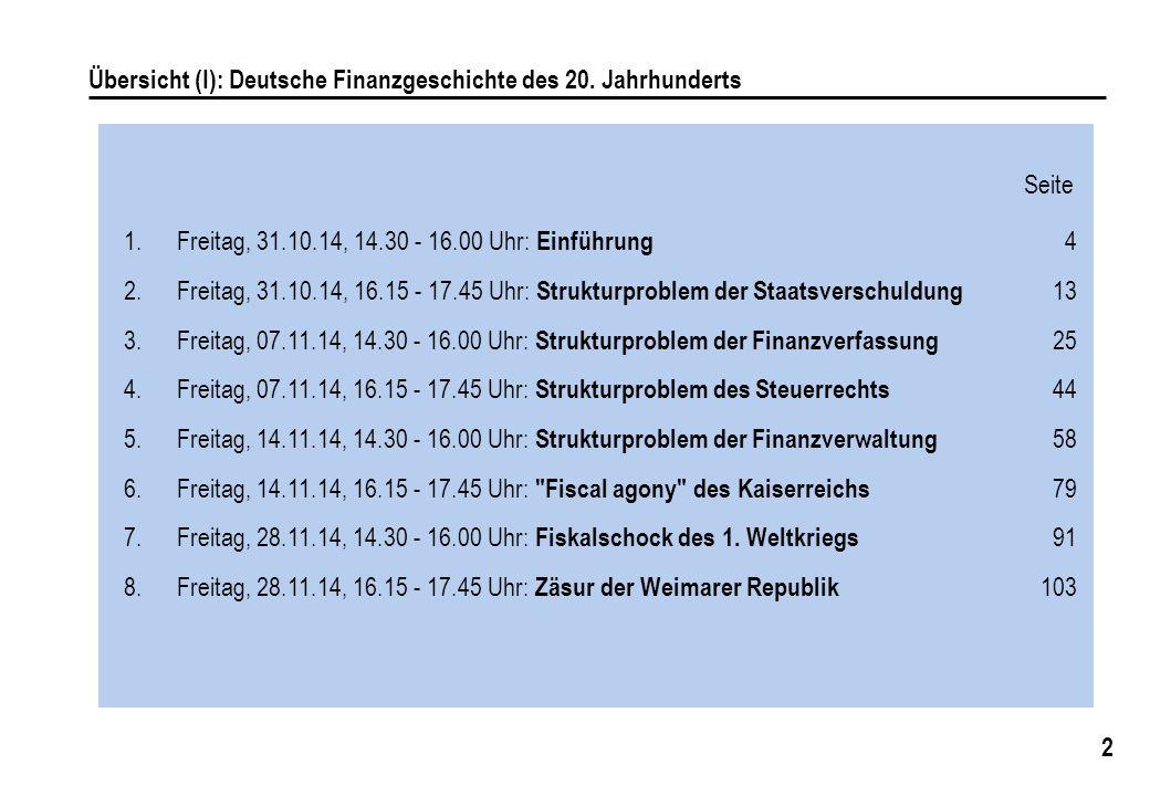 2 Übersicht (I): Deutsche Finanzgeschichte des 20. Jahrhunderts 1.Freitag, 31.10.14, 14.30 - 16.00 Uhr: Einführung 4 2.Freitag, 31.10.14, 16.15 - 17.4