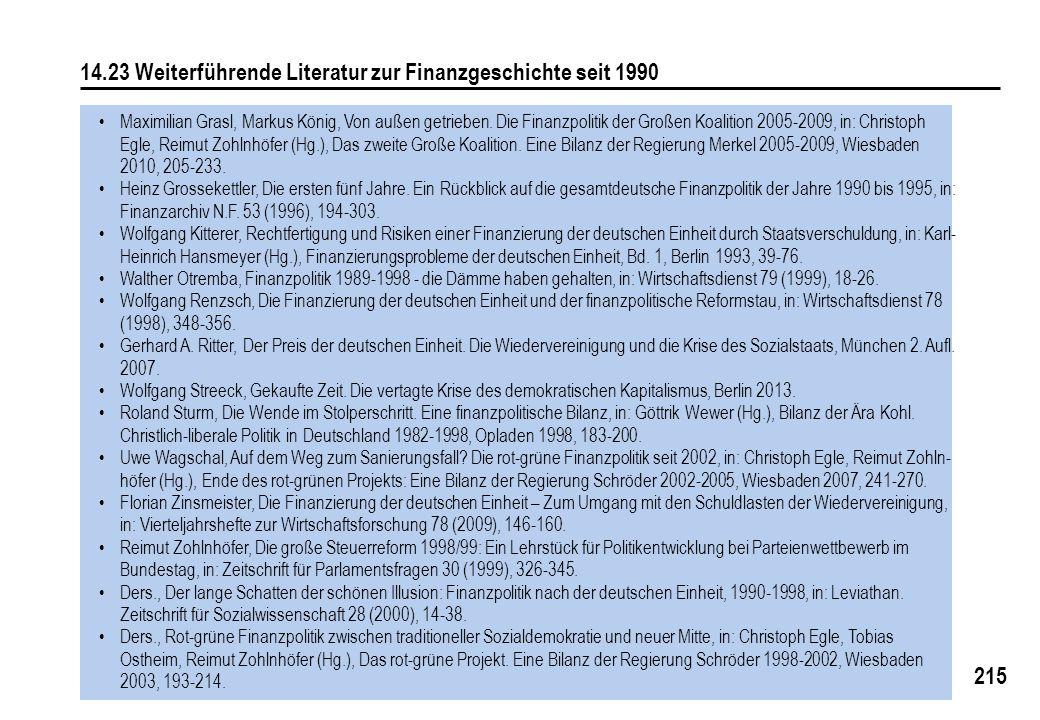 215 14.23 Weiterführende Literatur zur Finanzgeschichte seit 1990 Maximilian Grasl, Markus König, Von außen getrieben. Die Finanzpolitik der Großen Ko
