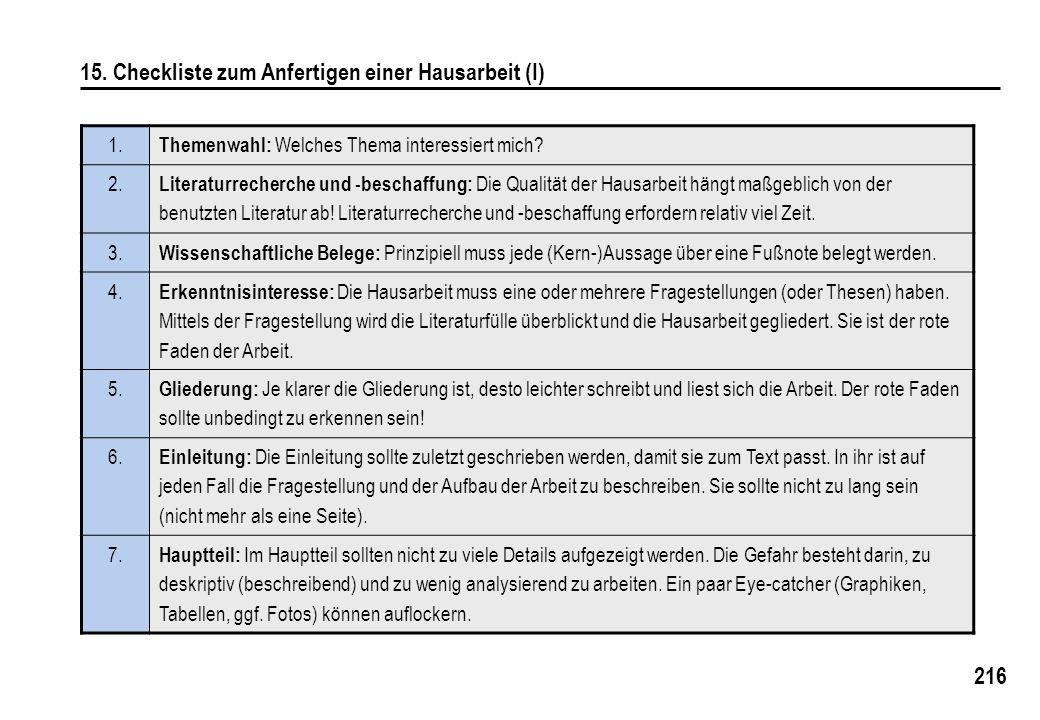216 15. Checkliste zum Anfertigen einer Hausarbeit (I) 1. Themenwahl: Welches Thema interessiert mich? 2. Literaturrecherche und -beschaffung: Die Qua