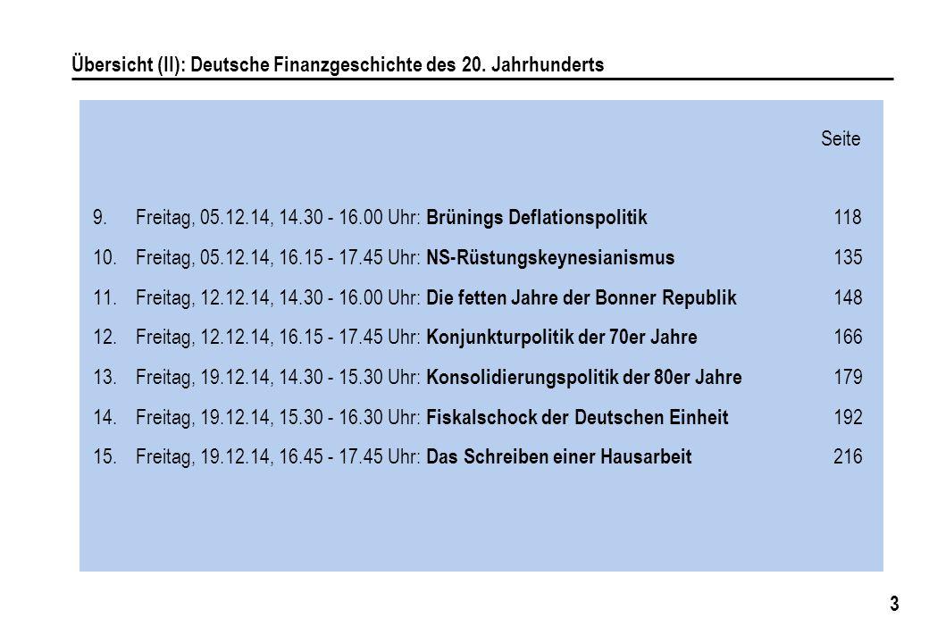 3 Übersicht (II): Deutsche Finanzgeschichte des 20. Jahrhunderts 9.Freitag, 05.12.14, 14.30 - 16.00 Uhr: Brünings Deflationspolitik 118 10.Freitag, 05